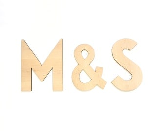Set/3 Modern Wedding Letters - Bride and Groom Initials - DIY Cutout Letters Set - Unfinished Monogram Letters - Wedding Backdrop Letters