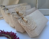 Set of 3 - bridesmaid clutch wedding gift linen boho purse beige cotton lace clutch Bridesmaid wedding Bohemian Personalized Gift