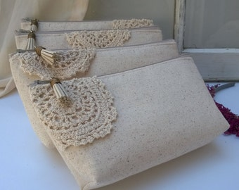 Bohemian Bridesmaid Clutches, Ivory Bridesmaid Clutches, Summer Wedding, Bohemian Bridesmaids Gift, Wedding - Set of 7