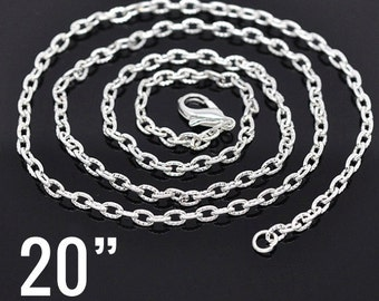 "48 WHOLESALE Necklaces - 20"" Silver Textured Link Chains with Clasps - 4.2x2.8mm  - Ships IMMEDIATELY  from California - CH126c"