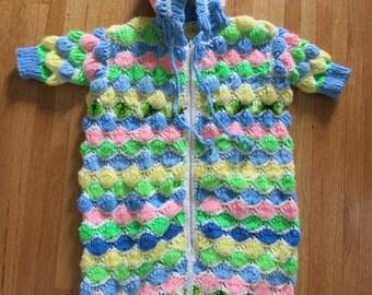 Vintage 70s Crochet Colorful Girls Hooded Baby / Toddler Sleep Sack Afgan Sleeping Bag onesie creeper size 9 - 18 months