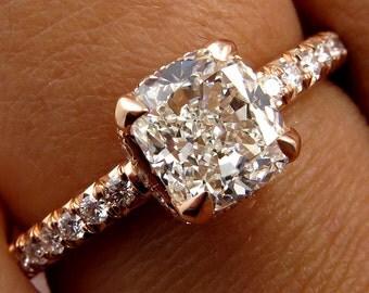 GIA 1.60ct Estate Vintage Cushion Diamond Micro Pave Rose Gold Engagement Wedding Ring