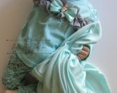 Newborn Baby Girl Clothing Set, Take Me Home Outfit, Mint Grey Complete Set, Pants, Top, Blanket, Hat Baby Girl Shower Gift
