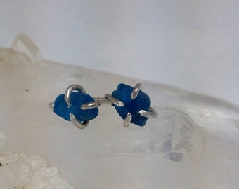 Rough Apatite Prong Set Earrings Sterling Silver
