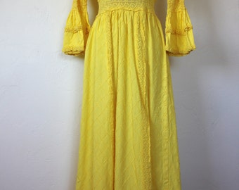 Vintage Yellow Mexican Cotton Wedding Dress