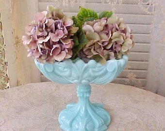 Beautiful Vintage Aqua Blue Glass Compote