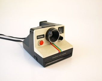 Vintage rainbow striped Polaroid land instant camera retro 70s 80s iconic Instagram