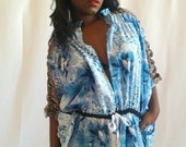Wild Spirit Blue Animal Print and Floral Beach Cover - Festival Kimono - House Robe -  Lux Ruched Arms and Pockets - Oversize One Size