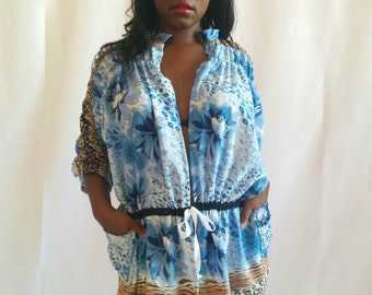 Wild Spirit Blue ! - Festival Cozy Kimono -  Lux Ruched Arms and Pockets - Oversize - FINAL SUPER SALE !!!