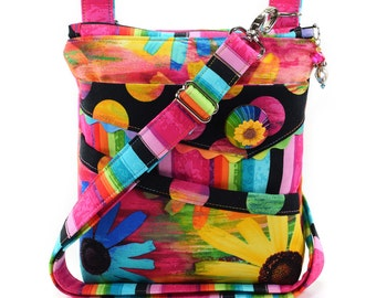 Small Crossbody Bag Rainbow Multicolored Hot Pink Black Orange Yellow Green Aqua Blue Flowers