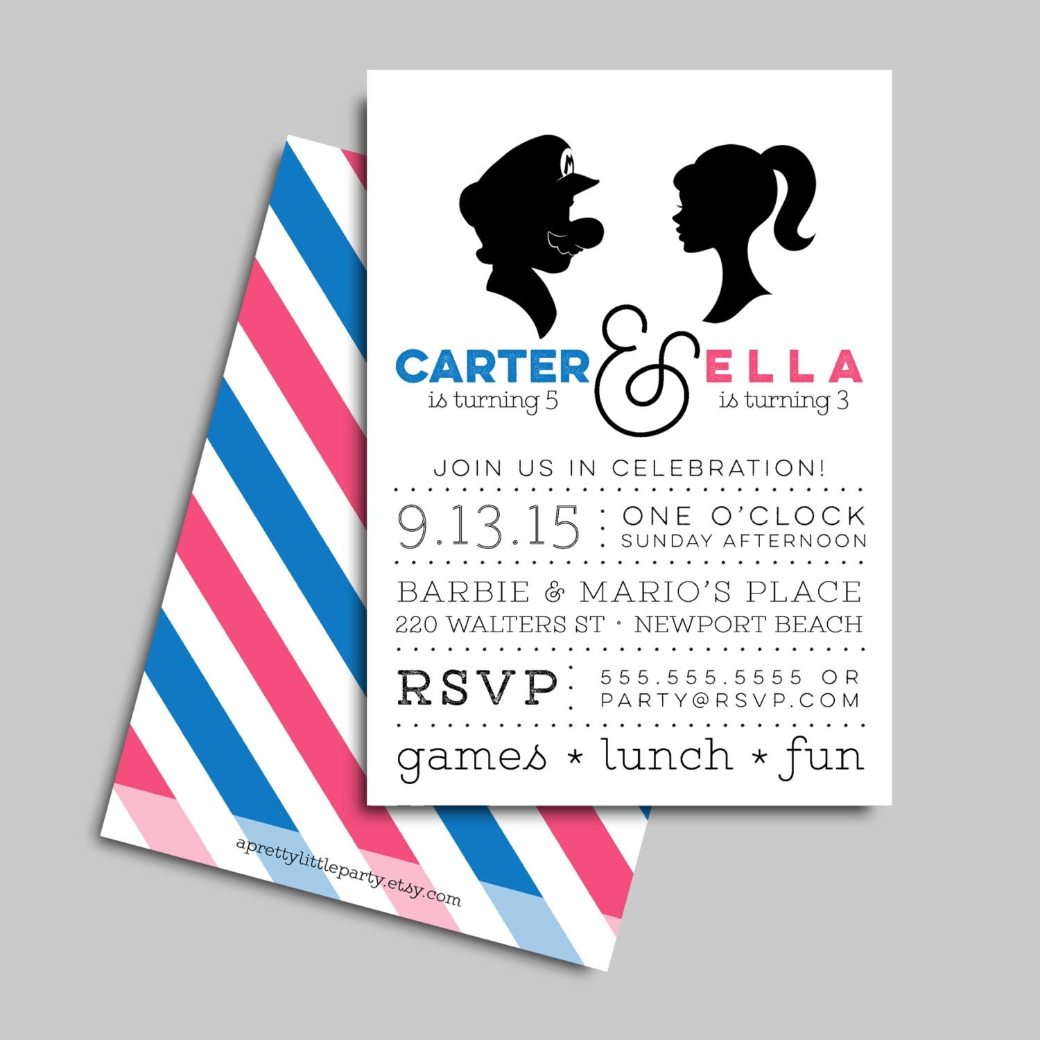 Barbie & Mario {inspired} Joint Party Invitation - Mario and Barbie Birthday Invite
