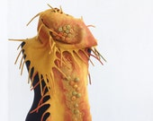 Nuno felted bright autumn scarf, pumpkin, hand felted scarf for woman, wool accessories