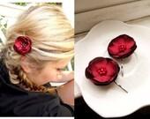 Set of 2 Red Satin Flower Bobby Pins, Red Flower Hair Pins, Deep Dark Red Hair Accessories, Wedding Hair Flowers, Bridesmaid Hair Clips