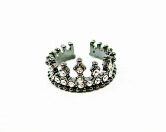 Size 4.5, 6.5 Crown Ring, Unique Ring, Black Crown Ring, Crown Black Ring, Men Ring, Women Ring, Black Ring, Crown Diamond Ring