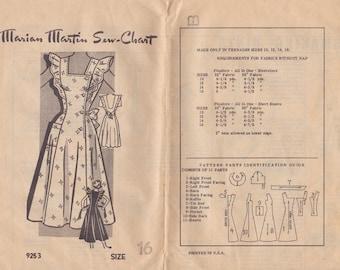 40s Side Button Sun Dress or Jumper Pattern Marian Martin 9253 Size 16