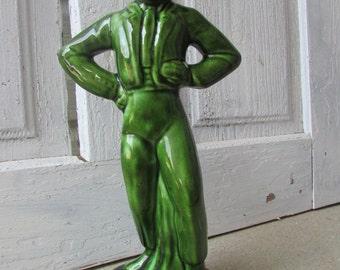 Green Flamenco dancer figurine 50's