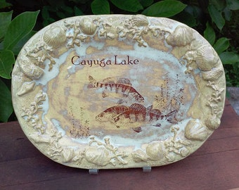 Cayuga Lake NY Stoneware Serving Platter