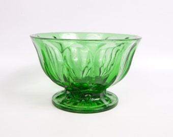 Vintage Emerald Green Glass Footed Bowl Candy Flower Nut Bowl Pedestal Bowl Jewel Tone