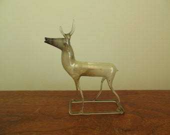 Mercury Glass Deer Old Blown German Silver Standing 4 Inch Tall Reindeer