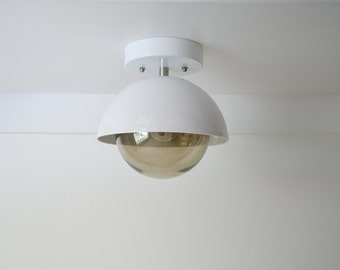 White Smoke • modern semi-flush mount dome with glass globe & nickel finishes • UL LISTED