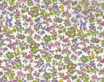 Liberty tana lawn fabric, Nancy Animal in purple, printed in Japan, bambi, rabbit, squirel, pink animal fabric, floral fabric, fat eighth