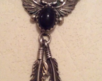 Native American, Feather, Pendant Necklace, Vintage Jewelry, SUMMER SALE