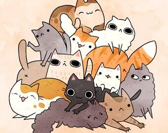 cat pile print 8.5 by 11, wall art, children's room print, kids room, kitten