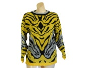 80s Sweater Yellow Sweater Hipster Sweater Funky Sweater Silver Sweater 1980s Sweater Pullover Sweater Funky Clothing Funky Clothes Knit