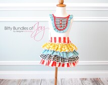 Carnival Birthday Outfit with Shirt/Tank Top and Quadruple Ruffle Skirt in Patterns of Stripes, Diamonds, and Polka Dots