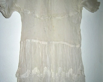 Vintage 20s organza art deco sheer dress small size as is study pattern display piece cutter
