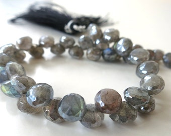 Labradorite Diamond Finish Faceted Onion - 1/2 Strand