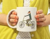 Coffee mug – Fox Mug, mr. fox on bicycle, bike, animal, tea mug by Hello Small World