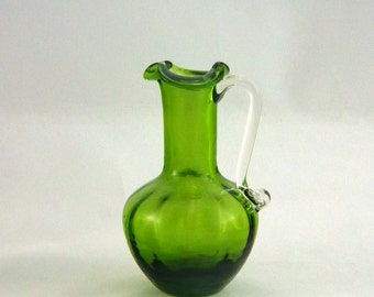 Pilgrim Glass 753 Avocado Green Pillar Optic Pitcher - Vintage 1960s Window Glass