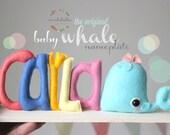 WHALE NURSERY DECOR, ocean nursery, under the sea baby decor, ocean baby shower center piece, baby whale, mukibaba nameplate