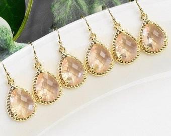 Bridesmaid Earrings Set of 4 Champagne Earrings Gold - Blush Earrings - Bridesmaid Jewelry - Bridal Party Gifts - Crystal Teardrop Earrings