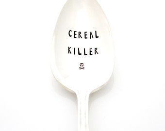 Cereal Killer spoon. Premium Hand stamped spoon for funny gift idea. Choose Your Size with this listing.