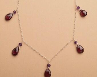 Garnet Necklace, January Birthstone Necklace, Healing Gemstone Jewelry, Red Gemstone Necklace