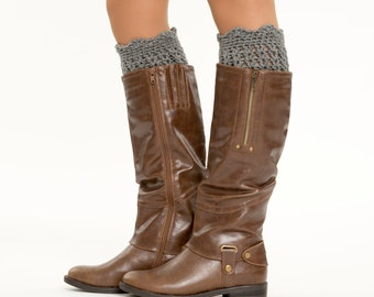 Heather Gray Ruffle Knit Boot Cuffs, Boot Topper / Warmer, Scalloped, Crocheted, Handmade Knit Women's Winter Accessory, Crochet