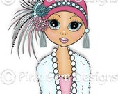 Digi Stamp Flapper Emma. Vintage.1920's. Charleston. Birthday cards, Invitations etc
