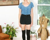 Vintage 90s Chambray Shirt Denim Top Short Sleeves Button Down