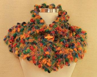 Chunky Poncho Cape Winter Knit Cape Cloak Fall Colors Shrug Shawl Soft Warm Neck Cowl Cape Multicolor Knit Collar Scarf Unique Gift For Her