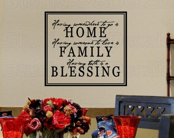 Home Family Blessing - Vinyl Wall Decal - Wall Art Quote - Vinyl Wall Sticker Lettering - Thanksful wall quote - Thanksgiving decor -