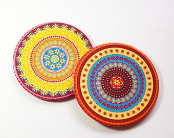 Drink Coasters, Mandala Coasters, Coasters, Hostess Gift, Barware, Home Decor, Bright colors, Set of Coasters, Housewarming Gift (5104a)