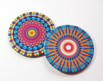 Mandala Coasters, Drink Coasters, Set of Coasters, Barware, Hostess Gift, Coasters, Home Decor, Bright colors, Housewarming Gift (5104e)