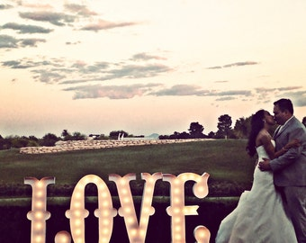 LOVE Lighted Marquee Sign 4pc Custom Personalized Metal.........Wedding Business Engagement Bar Home Eat