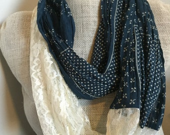 Navy Lace Infinity Scarf - Cream & Blue Country Cotton Scarf