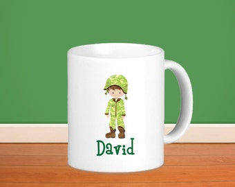 Soldier Kids Personalized Mug - Military Soldier with Name, Child Personalized Ceramic or Poly Mug Gift