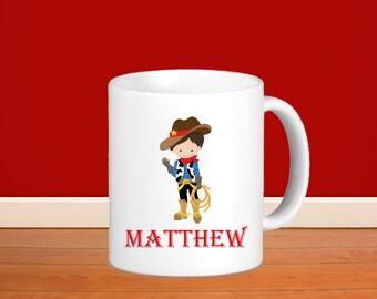 Cowboy Kids Personalized Mug - Cowboy Hand Wave with Name, Child Personalized Ceramic or Poly Mug Gift