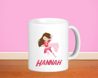 Superhero Kids Personalized Mug - Superhero Girl Light Pink Cape with Name, Child Personalized Ceramic or Poly Mug Gift