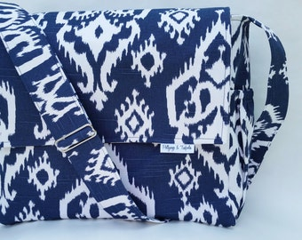 Diaper Bag - Tote Bag - Large Messenger Bag with Inner and Outer Pockets - Raji Slub in Navy